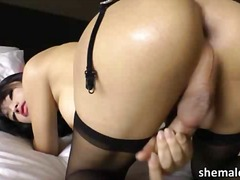 speelding, ladyboy, shemale, asiër, solo